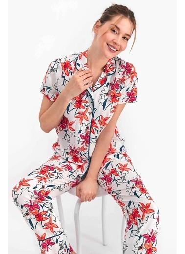 Arnetta Floral Krem Kadın Gömlek Pijama Krem